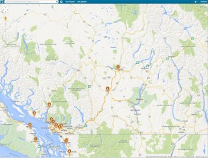 Plugshare's map of Level 3 chargers in BC.  BC Hydro has started to install chargers outside of the lower mainland and I believe is trying to complete a southern interior loop.