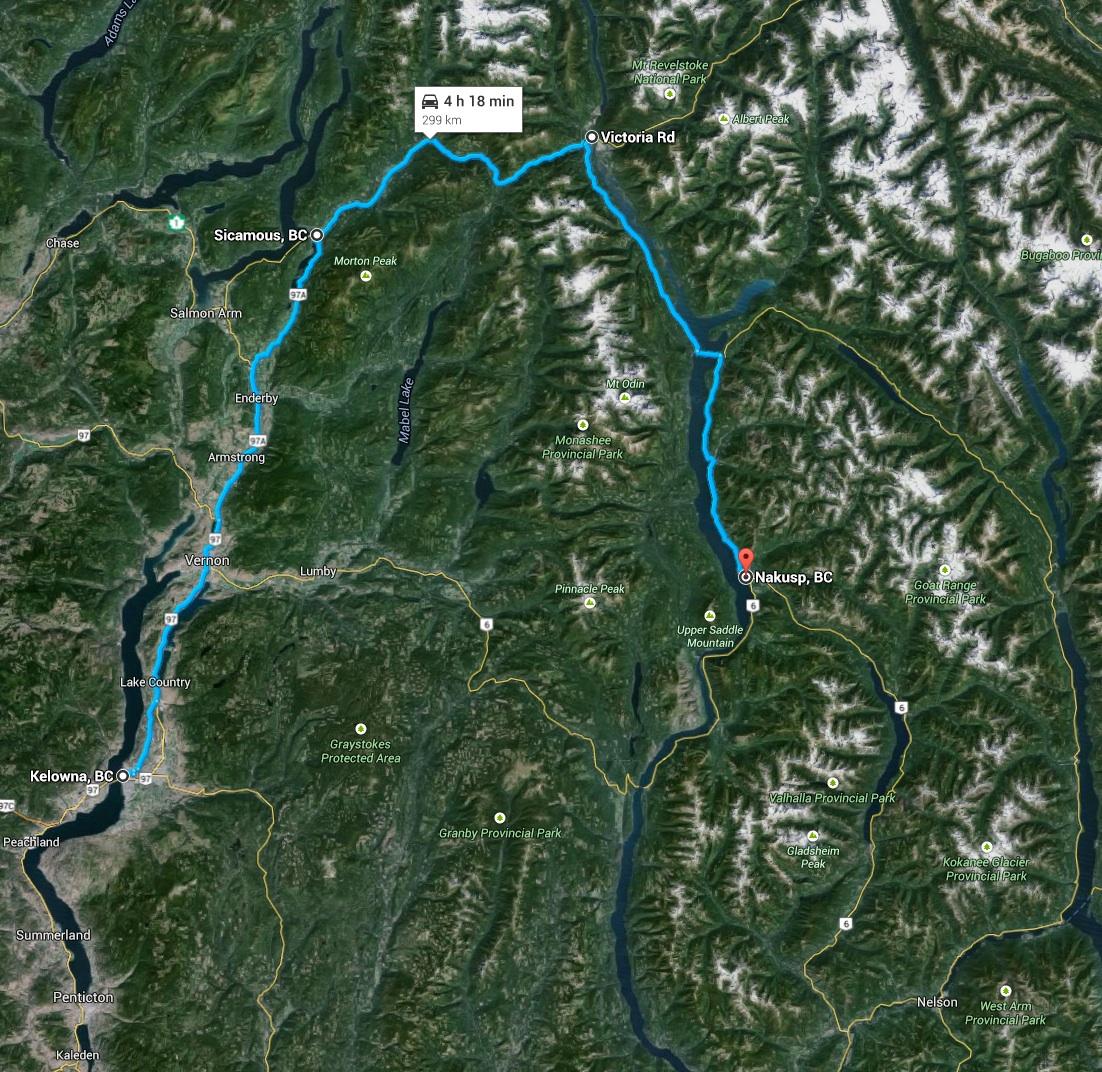 Day 3 - Kelowna to Nakusp, 300 km