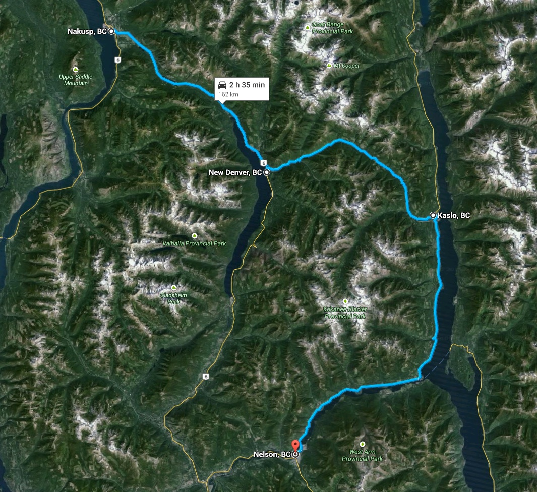 Nakusp to Nelson, via Kaslo